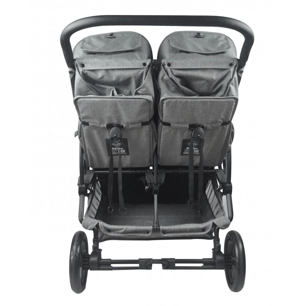 Roma Gemini Double Pram - Grey back