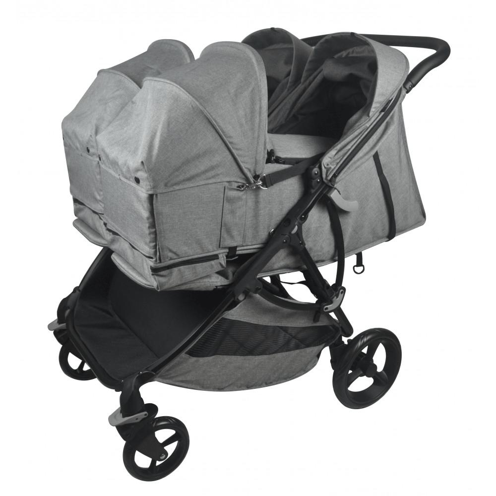 Roma Gemini Double Pram - Grey carrycot feature