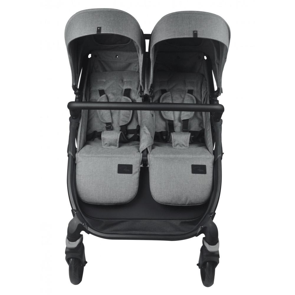 Roma Gemini Double Pram - Grey front