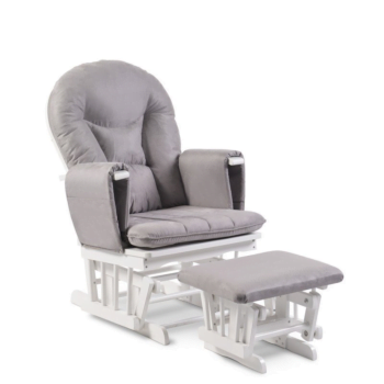 babyhoot Alford Glider Chair and Stool grey on white
