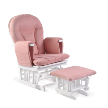 babyhoot Alford Glider Chair and Stool rose pink on white