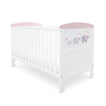 babyhoot Coleby Style Cot Bed Elephant Love Pink mattress