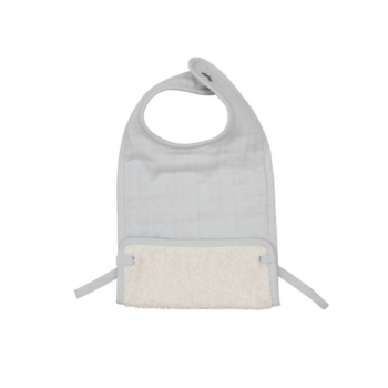 fabelab muslin feeding bib icy grey
