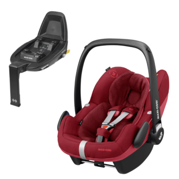 maxi cosi pebble pro i-size car seat essential red and familyfix2