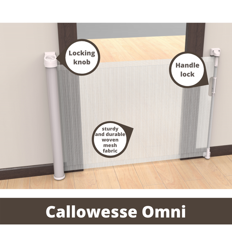 Callowesse Omni-Directional Retractable Stair Gate 0-140cm – White/Silver