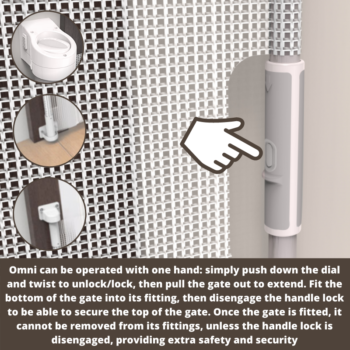Callowesse Omni-Directional Retractable Stair Gate 0-140cm - White/Silver