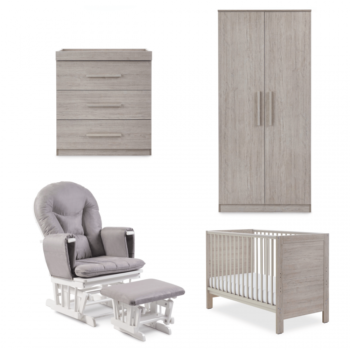 Ickle Bubba Grantham Mini 5 Piece Set with Foam Mattress - Grey Oak