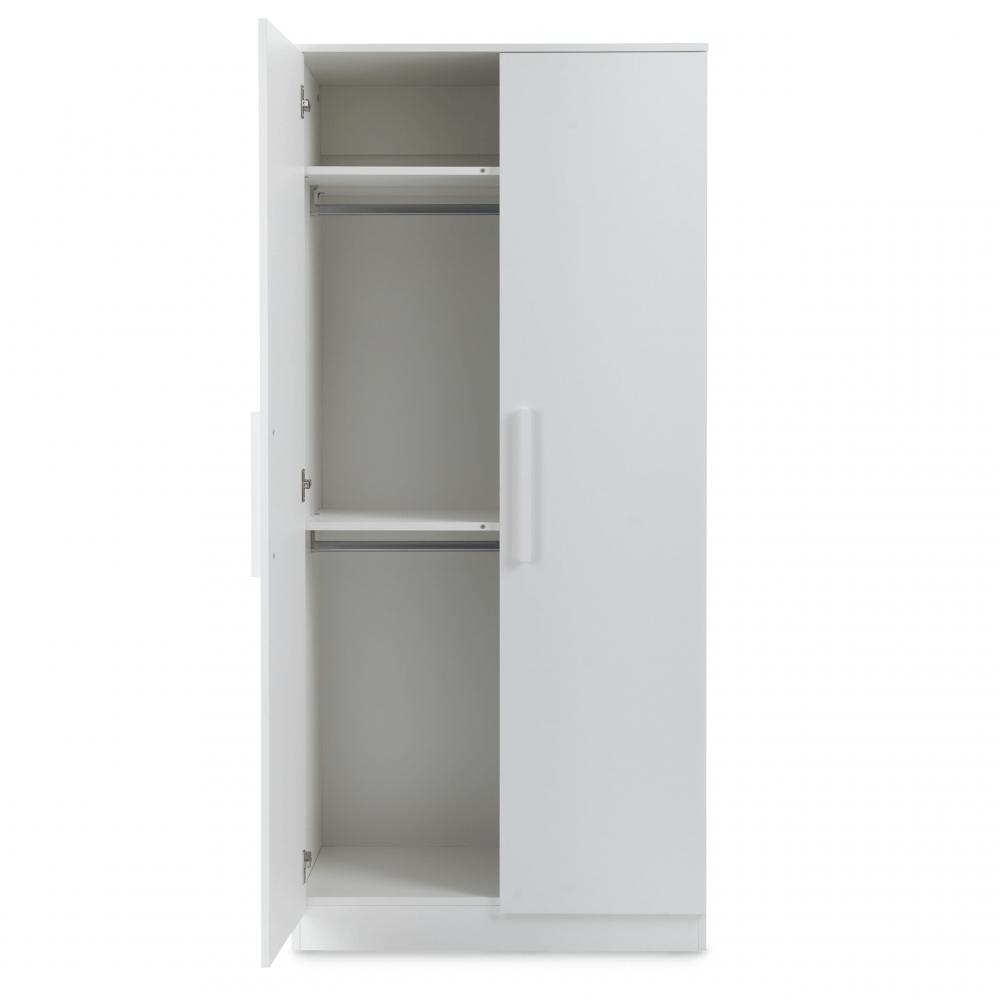 Ickle Bubba Grantham Mini 3 Piece Set - Brushed White double wardrobe open