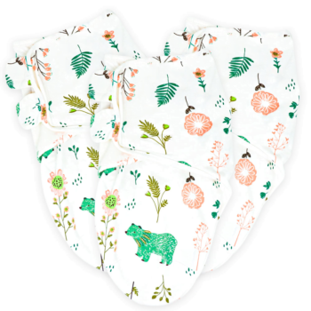Callowesse Newborn Baby Swaddle - 0-3 Months - Bears and Blossoms - Pack of 3