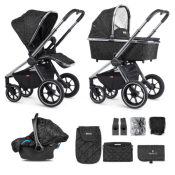 Venicci Tinum 3 in 1 Travel System – Camo Black (12 Piece Bundle)