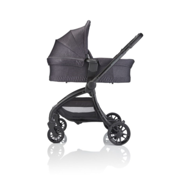 JuniorJones J-SPIRIT Carrycot - Graphite Black - With Stroller Side View