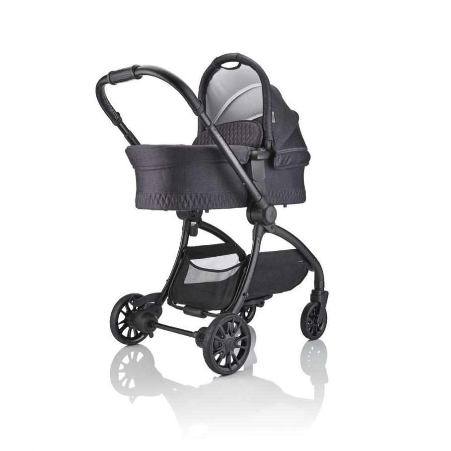 JuniorJones J-SPIRIT Carrycot - Graphite Black - With Stroller Front View