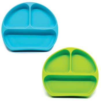 Callowesse Silicone Suction Plates 2 Pack - Green & Blue