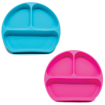 Callowesse Silicone Suction Plates 2 Pack - Blue & Pink
