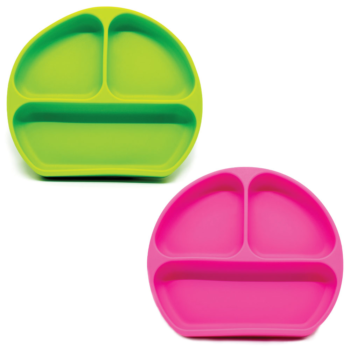Callowesse Silicone Suction Plates 2 Pack - Green & Pink