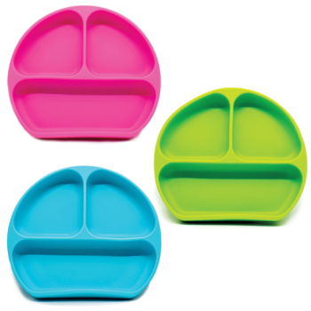 Callowesse Silicone Suction Plates 3 Pack - Green, Pink and Blue