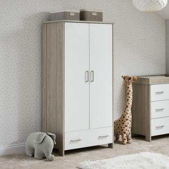 Nika Double Wardrobe- Grey wash & White- Lifestyle Image