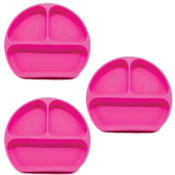 Callowesse Silicone Suction Plates 3 Pack - Pink