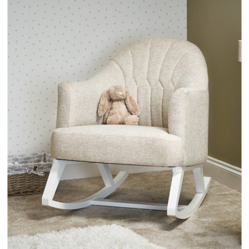 Round Back Ropcking Chair- White with Oatmeal- Lifestyle Image