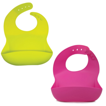 Callowesse Silicone Bibs 2 Pack - Lime Green and Pink