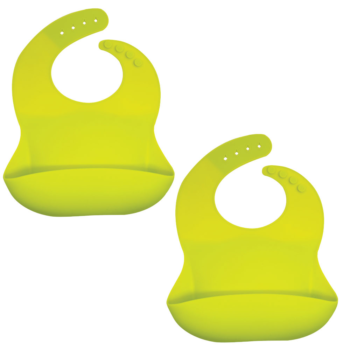 Callowesse Silicone Bibs 2 Pack - Lime Green