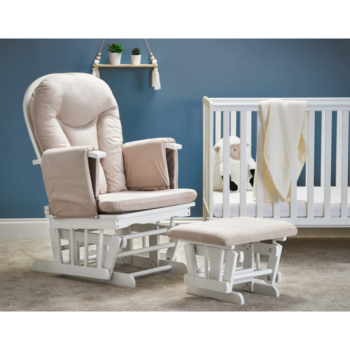 Obaby- Reclining Glider Chair & Stool- White with Sand Cushion