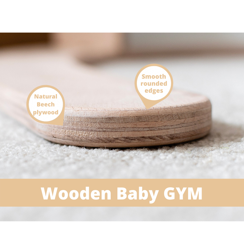 Callowesse Dinky Wooden Baby Gym – Newborn Play Gym with Moon & Star Soft Toys
